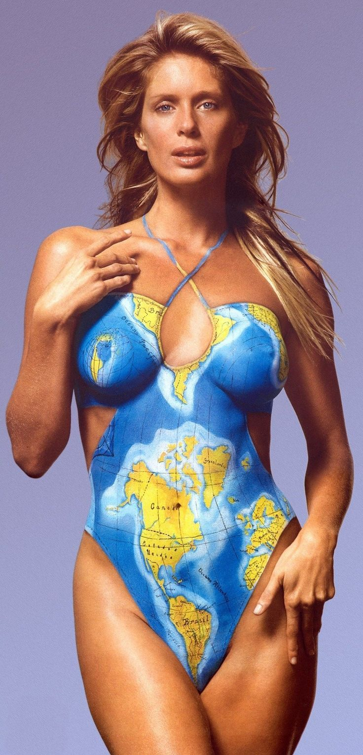 Looking for Tierra del Fuego? Just head as far south as possible.... Rachel Hunter world map bodypaint::