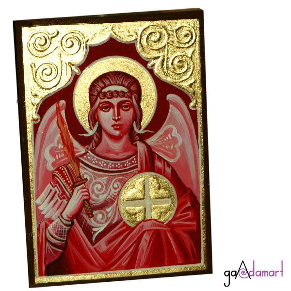 Icoana unicat pictata pe lemn, cu foita de schlagmetal aurie si stucatura manuala, lucrata in tehnica grisai, reprezentandu-l pe Arhanghelul Mihail.
