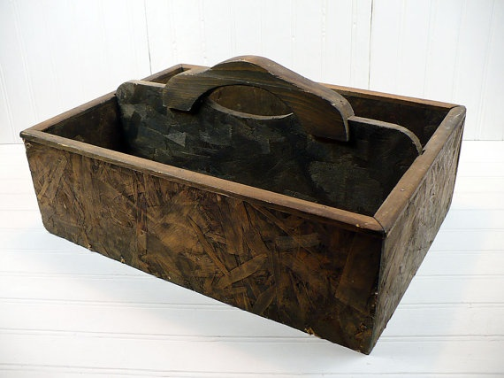 Vintage wooden tool box garden tote with handle industrial for Industrial garden tools