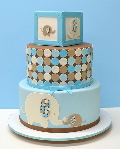 Elephant baby shower cake--- This is soo cute! And if it was a girl, you could make the blue pink and the brown grey! :)