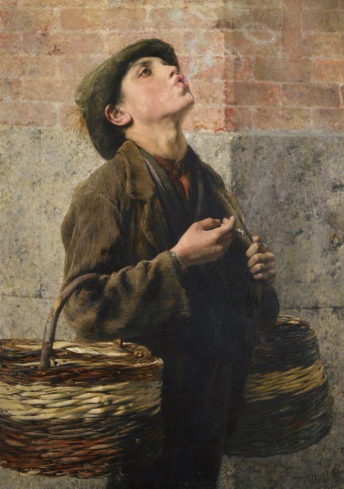 Smoke Rings, 1887 by Georgios Jakobides (Greek painter 1853-1932). Greek Art at Sotheby's, November 20, 2012.