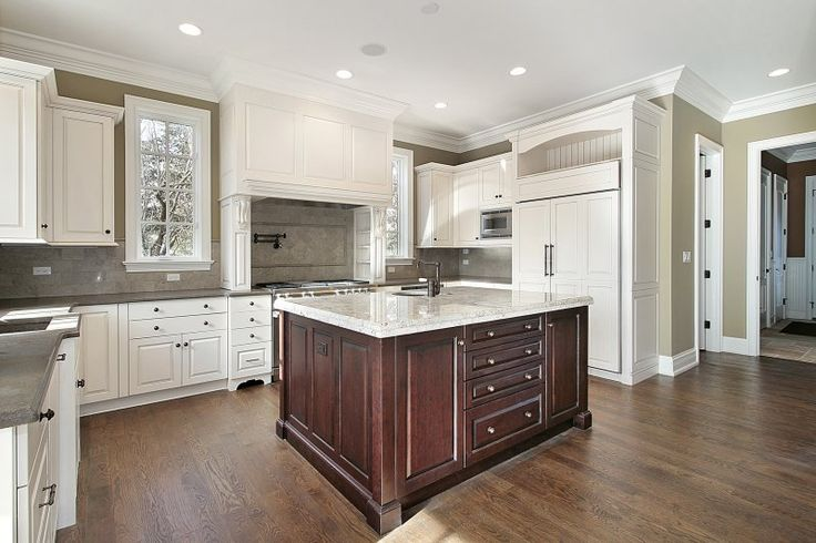 White Kitchen Cabinets With Dark Middle Island Kitchens