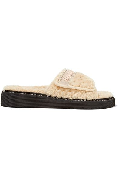 See by Chloé - Faux Shearling Slides - Beige - IT35