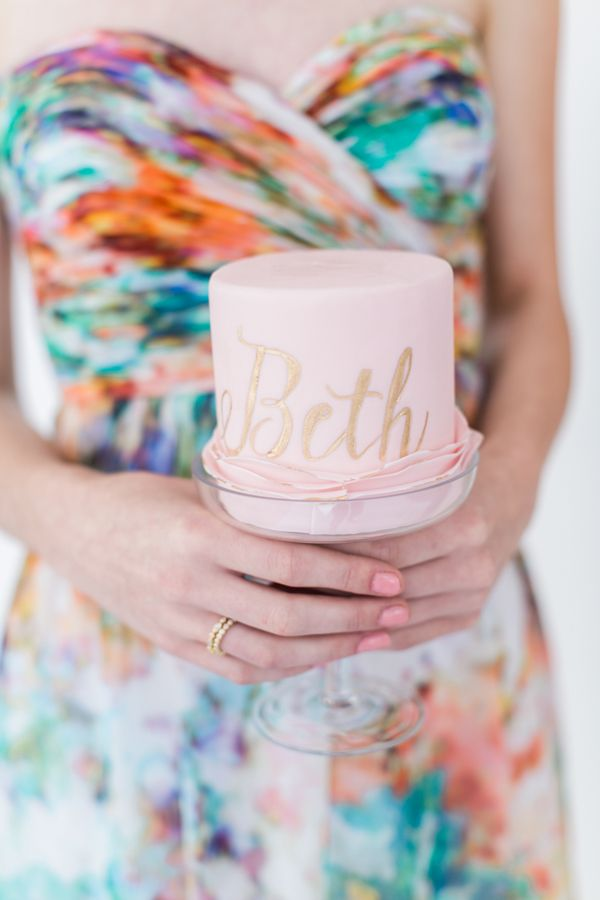 Cute bridesmaid cake! Photo by: Alexis June Photography