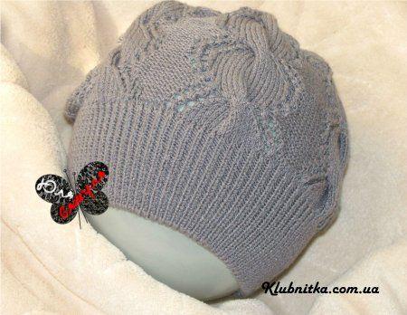 Стрейчевая ажурная шапочка спицами » Клуб-Нитка - вязание спицами и не только