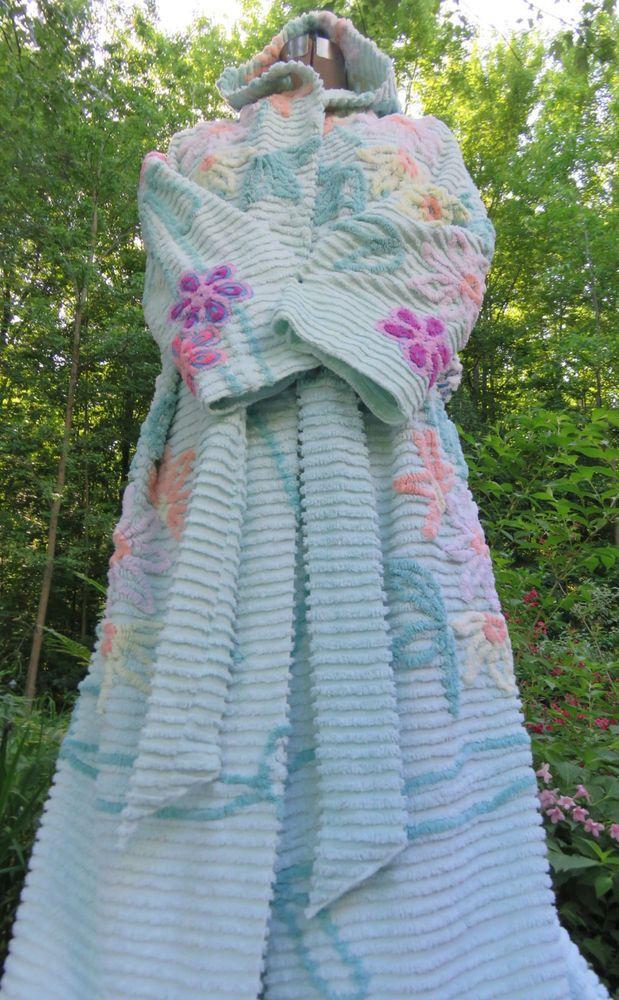 Cool Mint Vtg Handmade Chenille Bedspread Robe w/ TROPICAL LILIES Bathrobe #Handmade #Robes