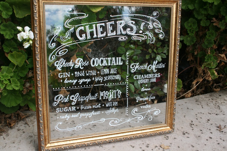 wedding cocktail menu in vintage frame