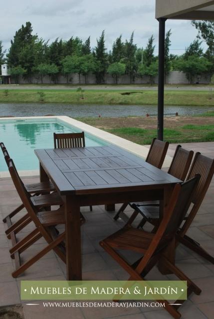 Mesa y sillas de madera para patios mesas pinterest for Mesas y sillas para patios