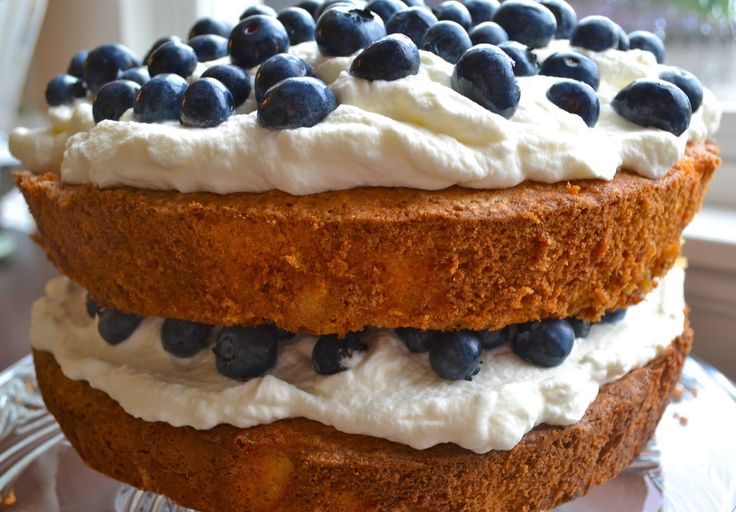 Couldn't resist making a blueberries and cream cake!