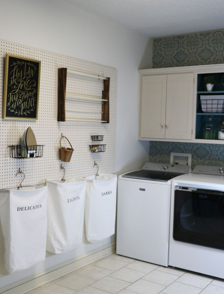 A peg board storing all your utility room items