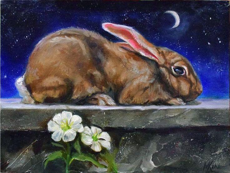"Evening Primrose Rabbit Nocturne in Oil on Raymar Panel 9x12"" BY Margot King | eBay"