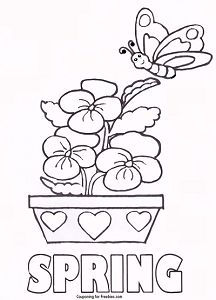 free printable coloring page with spring theme free for kids to color http