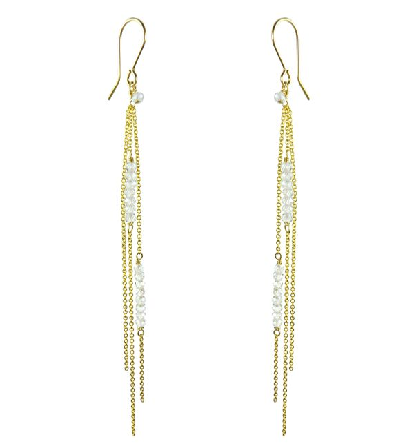 Mounir delicate long fish hook earrings on 14ct gold filled with clear zircon faceted beads. Retailing at: £72. http://www.mounir.co.uk/index.php?route=product/product&path=60_113&product_id=1482&limit=100 #longearrings #earrings #mounirjewellery #mounir #zircon #pearls #dalicateearrings #longearrings