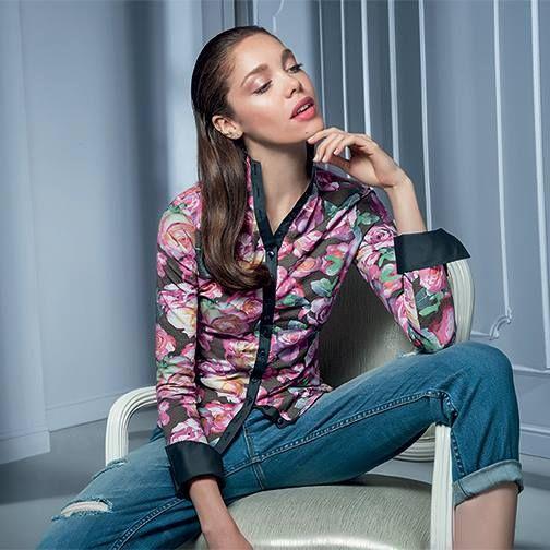 Floral jersey shirt #NaraCamicie #Nara #Collection #Winter #Autumn #Elegant #Fashion #Clothes #Style #Class