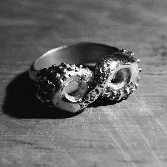 Retorcidos tentáculos anillo | Plata esterlina | Joyería de pulpo | Rock