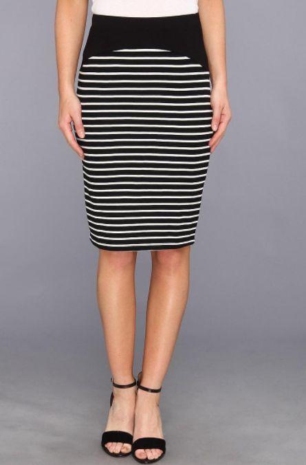 VELVET By Graham & Spencer Amalia Pull On Black White Stripe Pencil Skirt S $138 #Velvet #StraightPencil