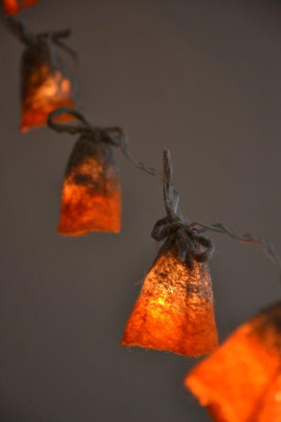 Lovely Halloween String Lights Garland Grey Orange Felted Lamp Decoration Eco Natural