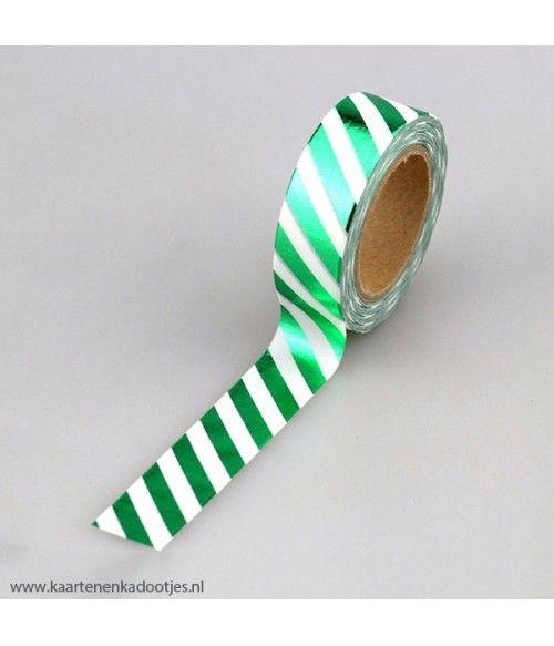 Metallic washi tape wit met groene strepen