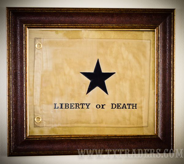 Framed Liberty Or Death Flag - Texas Battle Flag