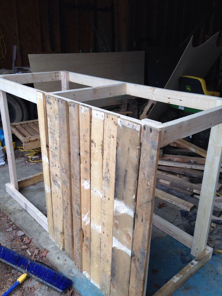 The start of a pallet board counter for the store.