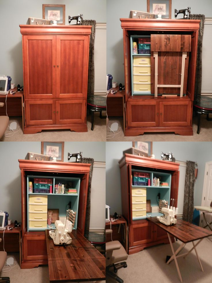 Thanks to Pinterest and its wonderfully crafty users I have finally finished building my own sewing cabinet.  Found a Craigslist armoire and then built a slide in cabinet with my new KregJig.  It took me months to decide on the table leg style and finally found inspiration in my TV trays.  I am sooo proud of myself because I had just a little help from my wonderful hubby and the rest was all me.  I even made all of the legs.  Hope you all like it.  I love it.  Thank you Pinterest!