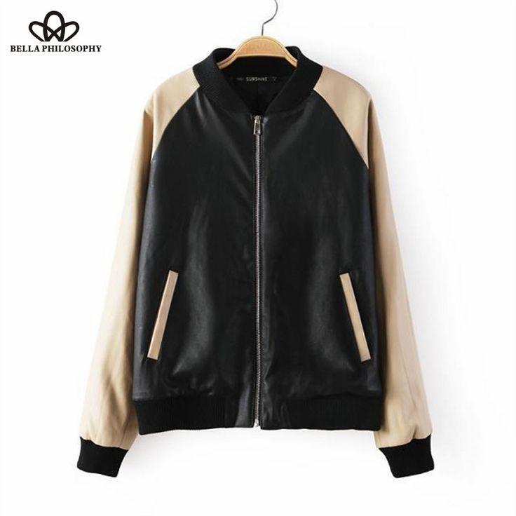Autumn winter new women baseball clothes zipper patchwork faux leather jacket baseball bomber jacket coat