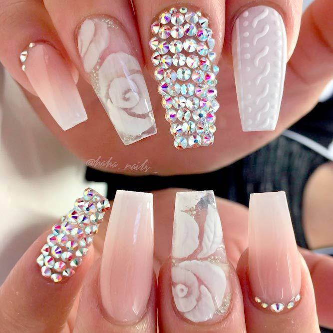 The 25 best rhinestone nail designs ideas on pinterest nails 45 best long nail designs for glamorous girls rhinestone prinsesfo Images
