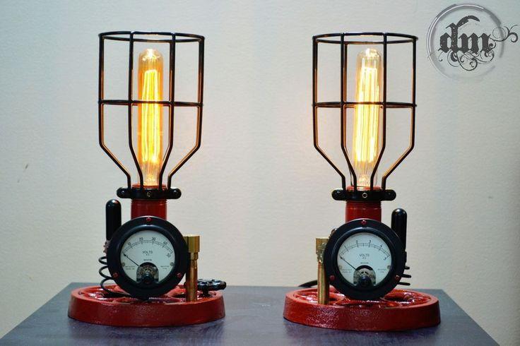 Steampunk Industrial lamps / SET of 2 Unique Desk - Bed side lights w/ GAUGES