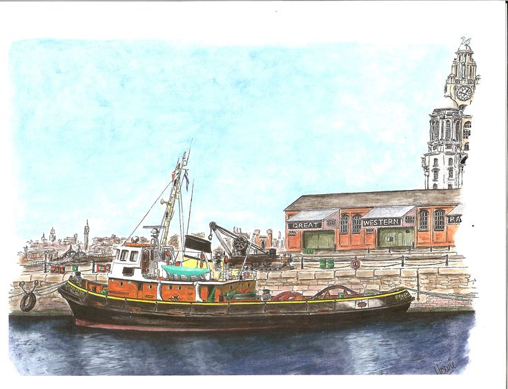 "The retired tug ""Brocklebank"" moored in Albert Dock, Liverpool, as part of the National Maritime Museum collection. Medium: watercolor on 9"" x 11"" watercolor paper."
