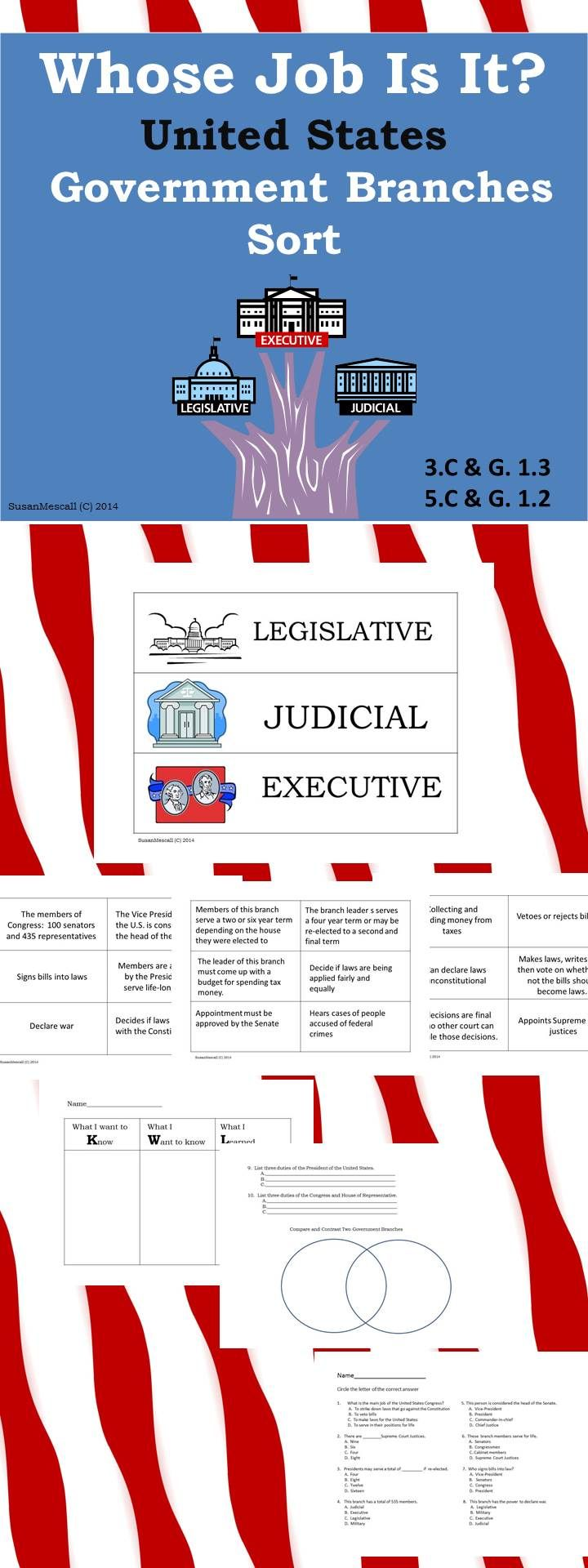 The Founding Fathers of the United States of America set up a most unique form of government. There are three branches, each with its own set of responsibilities. This product can help make those responsibilities clear and understandable to students as they sort the various responsibilities using the branch labels included. $