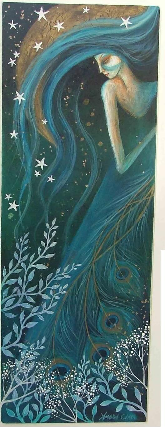 Earth Angels Art. Amanda Clark. Frosty days and yule. Teal, stars, long hair