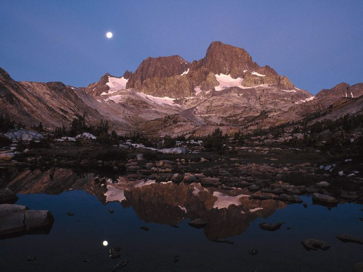 Ritter Range and Garnet Lake at Moonset, Ansel Adamd Wilderness, CA