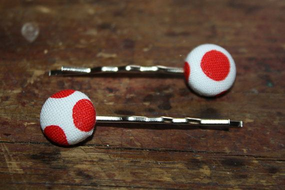 Fabric Covered Button Bobby Pins on Etsy, $6.77 CAD
