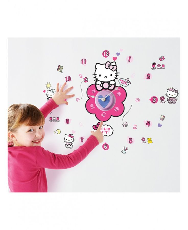 Hello Kitty Tick Tock Clock and Wall Stickers makes a fun yet educational feature in any room! The pretty clock comes with 50 individual vinyl stickers that can be arranged to create a Hello Kitty scene that ignites her imagination and gets her ready for the day ahead.