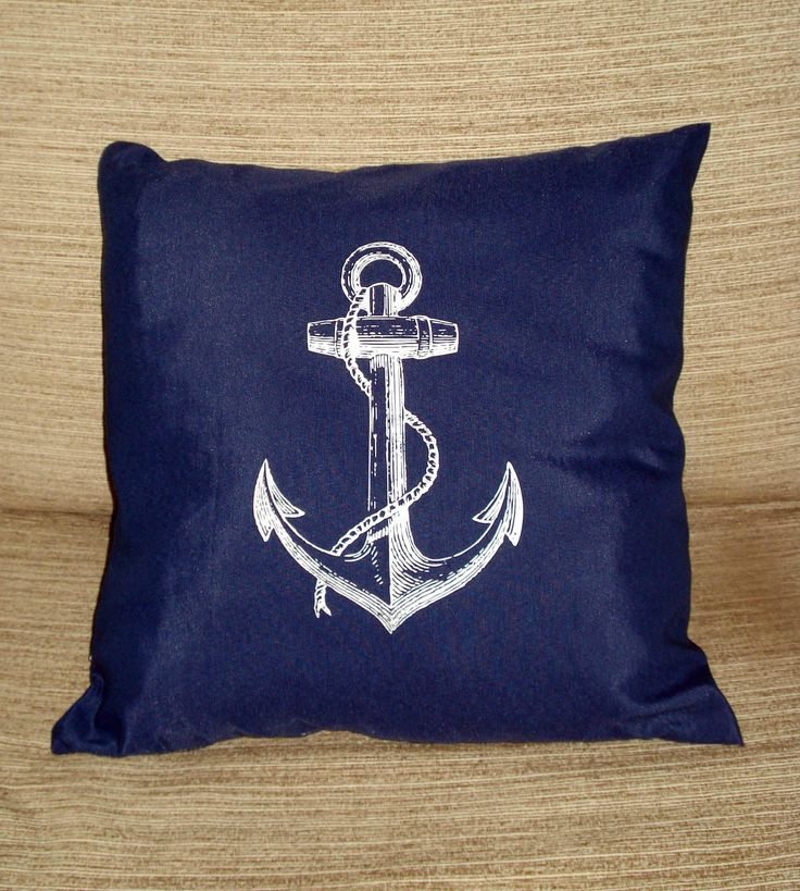 Blue pillow cover, Navy blue cushion cover, white anchor design, sitting room decoration, beach cottage decor, coastal nautical decoration by AlgaNet on Etsy