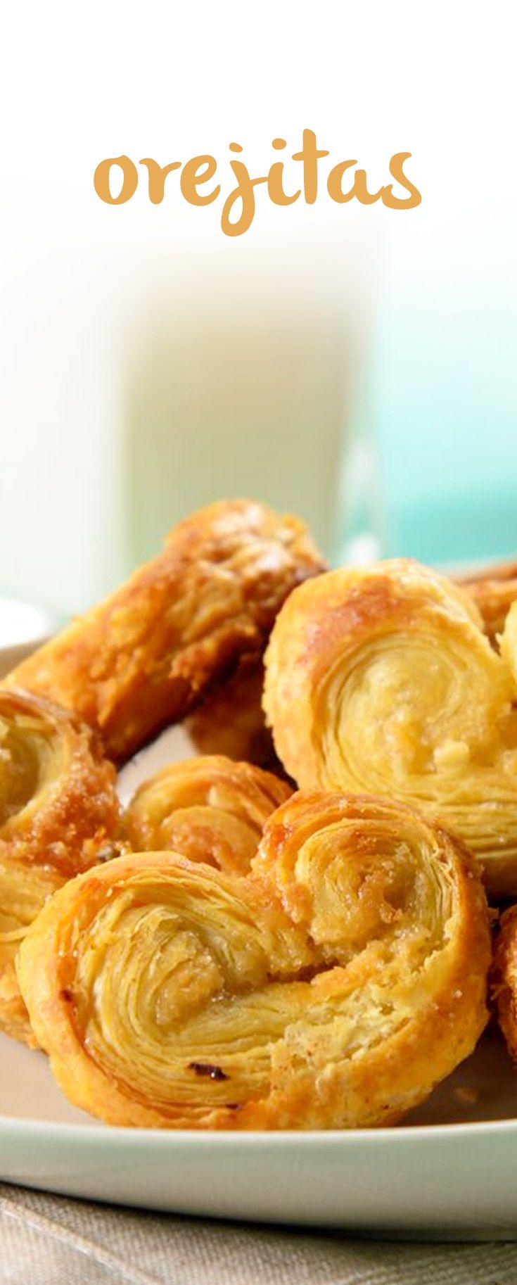 Galletas de orejitas de hojaldre caseras para regalar o venden en fechas especiales. Lo ligero y crujiente de esta receta de galletas fáciles te sorprenderá.