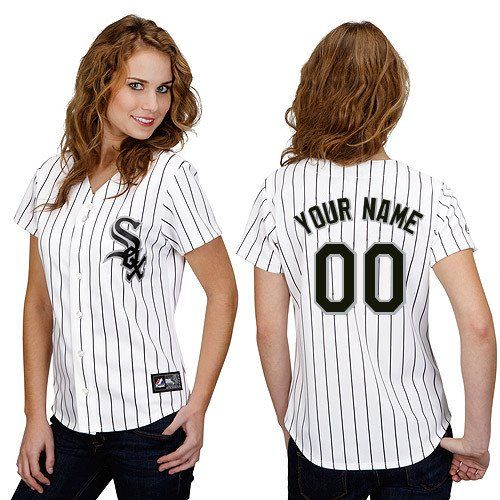 Chicago White Sox Customized Women's Authentic Jersey - White Home Majestic MLB Cool Base