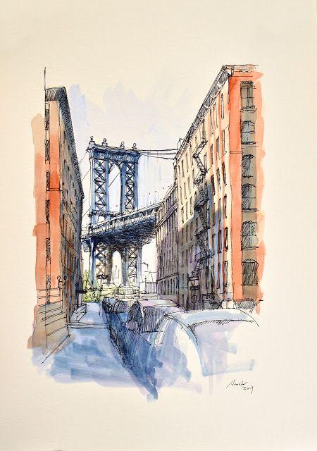 Manhattan Bridge. Acuarela y Tinta. 407x297mm. Papel canson 300gr.