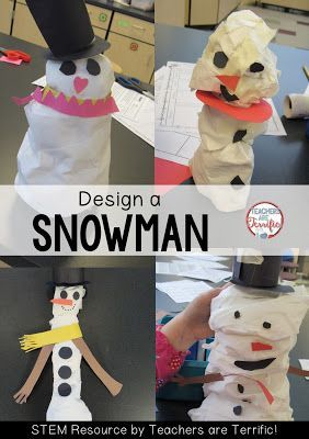 STEM Challenge: Do you want to build a snowman? Here's a great indoor solution to something kids love! Build a snowman STEM Challenge! This STEM activity is perfect for January and winter time!