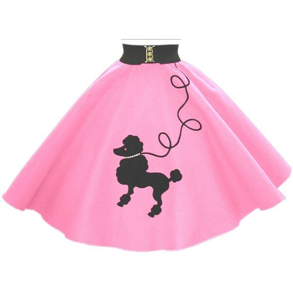 Shocking Pink Poodle Skirt w/ Black Dog and Leash ❤ liked on Polyvore