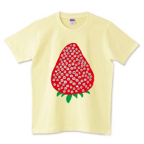 そこには何かいるモン!? in イチゴ Illustrated by ショウタロー #Tシャツ #tshirts #イラスト #デザイン #イチゴ #strawberry