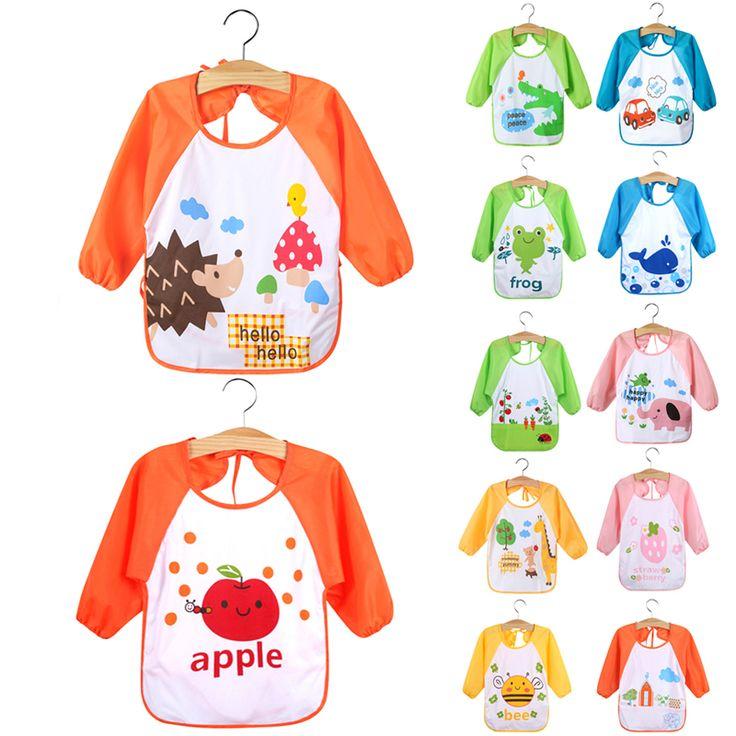 Baby Feeding Bibs Waterproof Smock Bib Cartoon Long Sleeve Toddler Kids Burp Cloths Children Dinner Eating Accessory 1-3Y