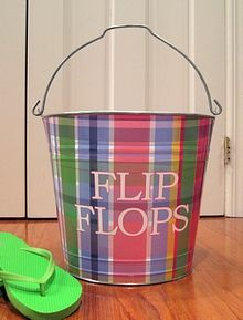 Flip Flop Bucket - a great way to keep all your flip flops together - Seasons Gifts and Home
