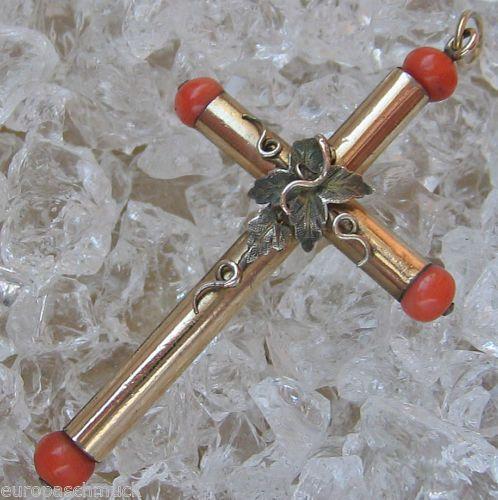 Goldanhänger Kreuz Anhänger Double Gold Goldkreuz Jugendstil Schmuck mit Koralle | eBay