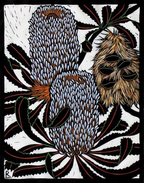 Rachel Newling (Australian) > Banksia Serrata | hand coloured linocut on handmade Japanese paper