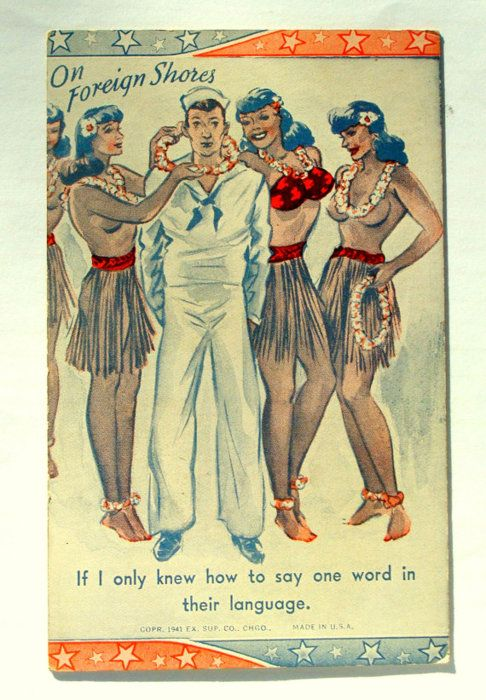 'on foreign shores' postcard with sailor & hula girls