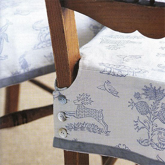 Buttoned chair cover detail
