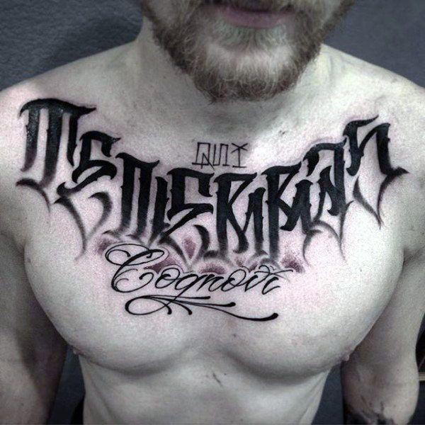 Unique Dark Lettering Tattoo Male Chest Tattoo Lettering Design Tattoo Lettering Tattoo Fonts