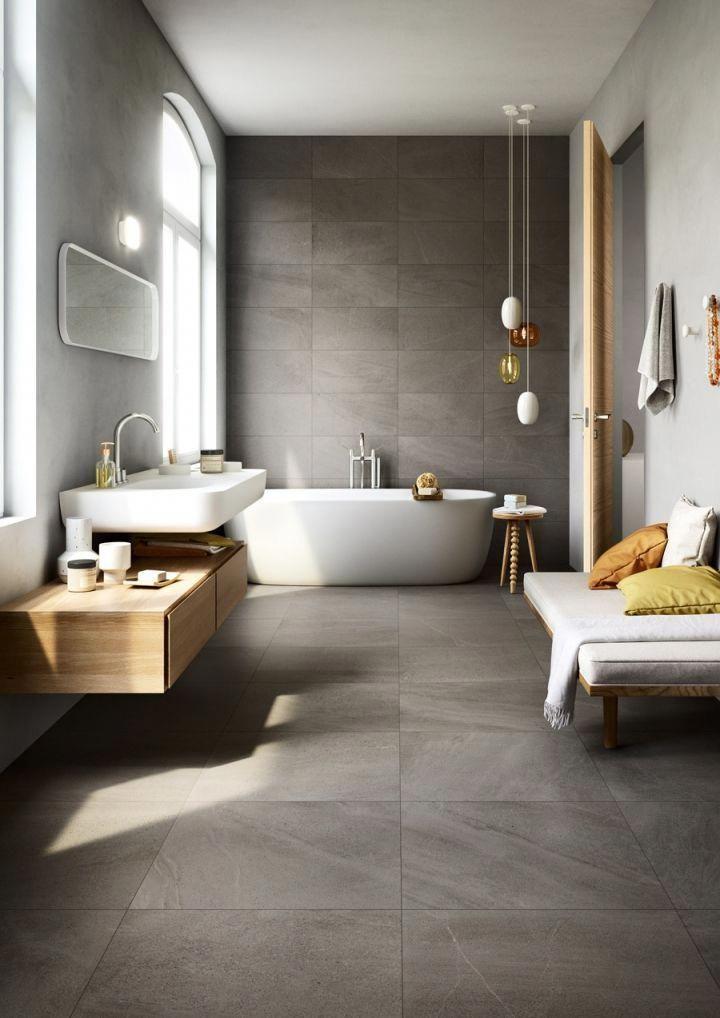 Love The Dark Grey Tile Running From Floor Up One Wall With Lighter Walls Either Side Also Lik Modern Bathroom Design Bathroom Interior Design Bathroom Design