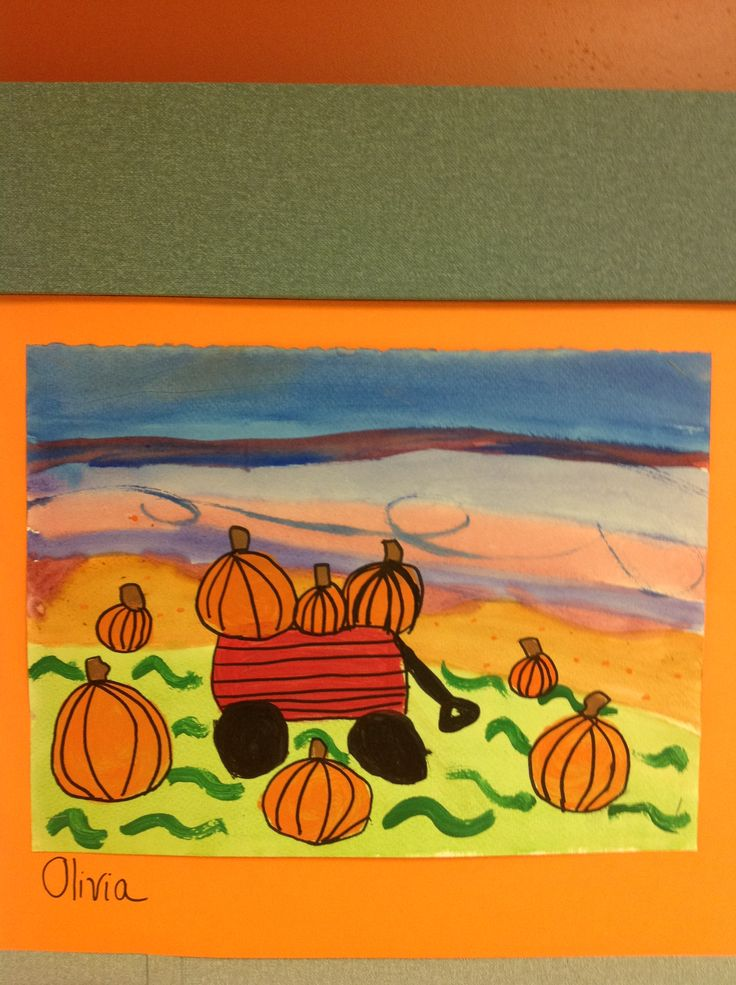 2nd grade.  Watercolor landscape (day 1) paint tempera wagon, pumpkins, details (day 2) outline with sharpie (day 3)
